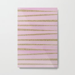 Soft Pink and Gold faux Glitter Stripes Metal Print