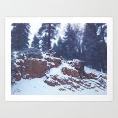 Snowy Rocks Art Print
