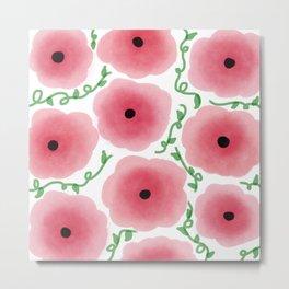 Watercolor Pink Floral Pattern Metal Print