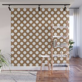 Brown and white polka dots Wall Mural