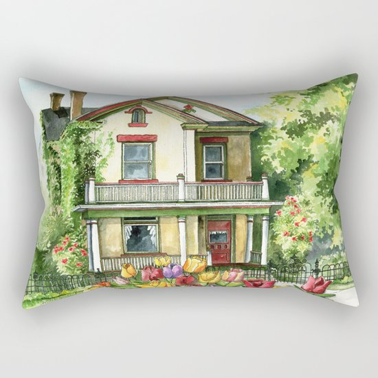 Farmhouse with Spring Tulips Rectangular Pillow