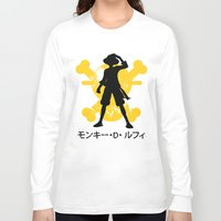 luffy Long Sleeve T-shirts featuring Monkey D. Luffy by KerzoArt