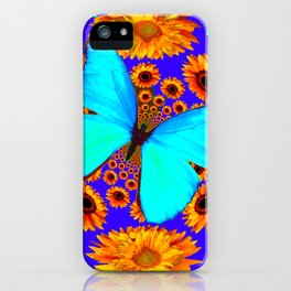 Turquoise Butterflies Golden Sunflowers Blue Abstract iPhone Case