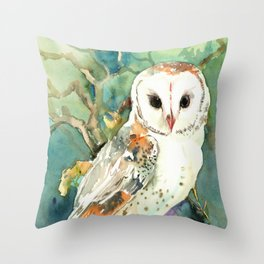 Barn Owl, woodland design owl Throw Pillow