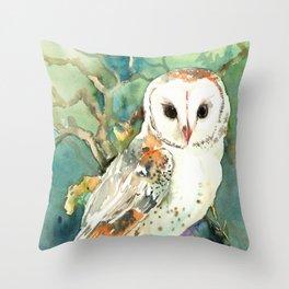 Barn Owl, woodland design owl Throw Pillow