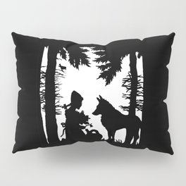 Black Silhouette Red Riding Hood Wolf in Woods Trees Pillow Sham