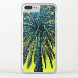 Yellow Palm Love Clear iPhone Case