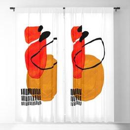 Mid Century Modern Abstract Vintage Pop Art Space Age Pattern Orange Yellow Black Orbit Accent Blackout Curtain