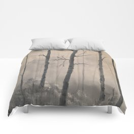Misty Forest - Birch trees Comforters