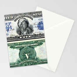 Vintage 1899 Running Antelope Native American US $5 Dollar Bill Silver Certificate Stationery Cards