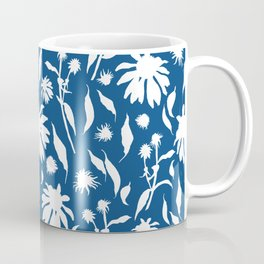 Elegant White on Classic Blue Echinacea Cone Flowers Floral Pattern Coffee Mug