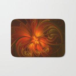 Burning, Abstract Fractal Art With Warmth Bath Mat