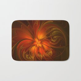 Burning, Abstract Fractal Art With Warmth Bath Mat