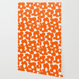 Orange Retro Flowers White Background #decor #society6 #buyart Wallpaper