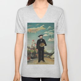 "Henri Rousseau ""Self Portrait from L'ile Saint Louis"", 1890 Unisex V-Neck"