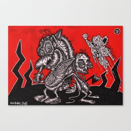 REN AND STIMPY MEET RIGHT WING MOUSE  Canvas Print
