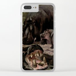 Vintage Hippopotamus Painting (1909) Clear iPhone Case