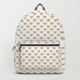 Large Christmas Gold Hearts on Snow White Backpack