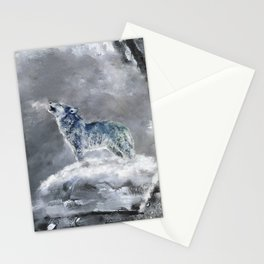 Blue Snow Wolf Stationery Cards