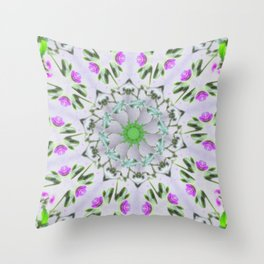 Purple Wildflower Kaleidoscope Art 7 Throw Pillow