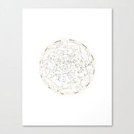 Star Chart of the Northern Hemisphere White Canvas Print