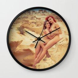 Nude Women In The Desert Wall Clock