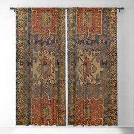 Persia Heriz 19th Century Authentic Colorful Orange Blue Green Vintage Patterns Blackout Curtain
