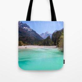 Stunning turquoise water in Kranjska Gora, Slovenia Tote Bag