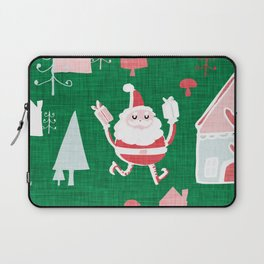 Santa is in Town Green #Holiday #Christmas Laptop Sleeve