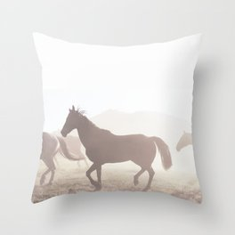 Wild horses in the morning. Throw Pillow