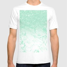 Modern faux mint glitter ombre mint turquoise marble White MEDIUM Mens Fitted Tee