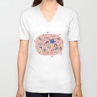 tennis V-neck T-shirts featuring tennis by Hui_Yuan-Chang