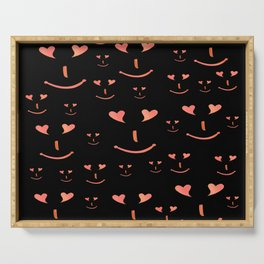 face, laugh, smile, heart, mouth, eyes, black, red, pink, spirit Serving Tray