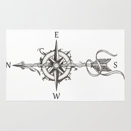 Compass with Arrow (Tattoo stule) Rug