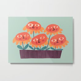 Flowers - the quirky little people Metal Print