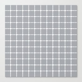 Dotted Grid Grey Canvas Print