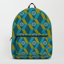 Mid Century Modern Flowers Optical Illusion Dark Teal Turquoise and Marigold Backpack