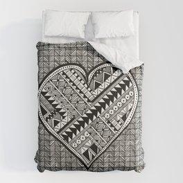Modern, black and white, geometric shaped heart Comforters