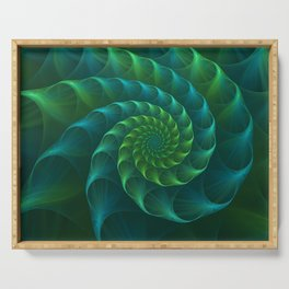 Blue And Green Nautilus Shell Serving Tray