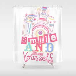 Smile and be Yourself - Pastel Camera Shower Curtain