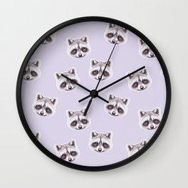 Raccoon Pastel Purple Pattern, Woodland Baby Animals, Nursery Animals Baby Girl Room Decor Wall Clock