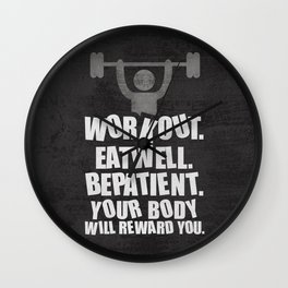 Lab No. 4 - Work Out Eat Well Be Patient Gym Motivational Quotes Poster Wall Clock