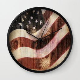 AMERICAN FLAG WOODEN Wall Clock