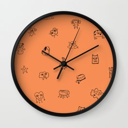 Orange Monster Pattern Wall Clock