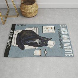 Black and White Restroom Papper Holder Be The Change Tuxedo Cat Rug