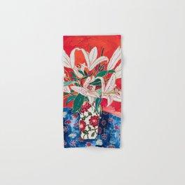 Blush Lily Bouquet on Orange Hand & Bath Towel