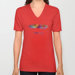 Edinburgh skyline in watercolor Unisex V-Neck