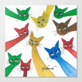 Vernon Whimsical Cats Canvas Print