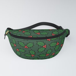 Holly Leaves and Berries Pattern in Dark Green Fanny Pack