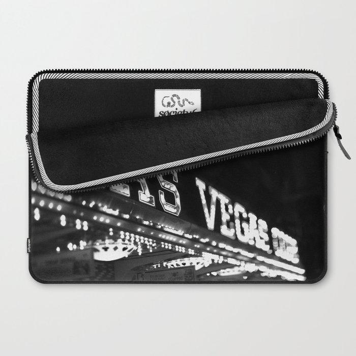 Vintage Las Vegas Sign - Black and White Photography Laptop Sleeve